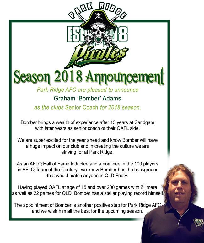 Park Ridge Pirates Coaching Announcement 2018