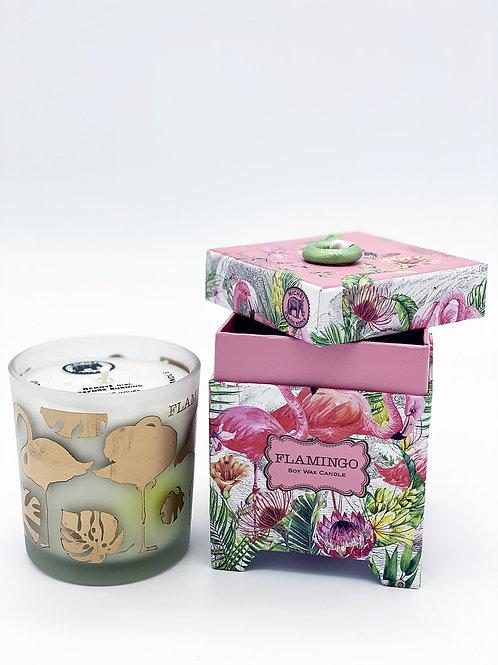 Boîte et bougie parfumée Flamingo