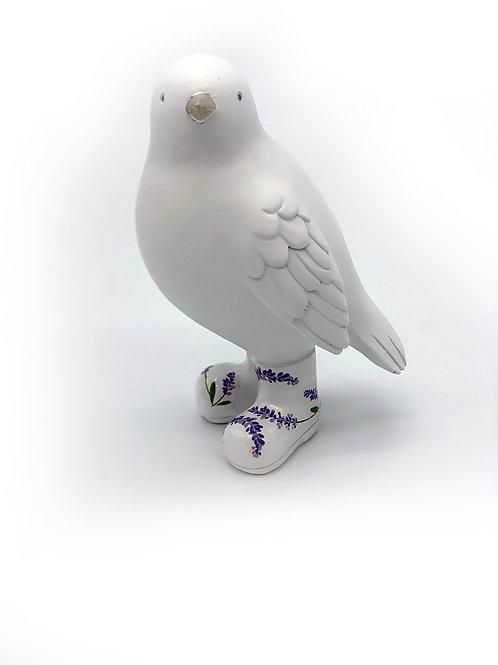 Oiseau ceramique bottes lavandes
