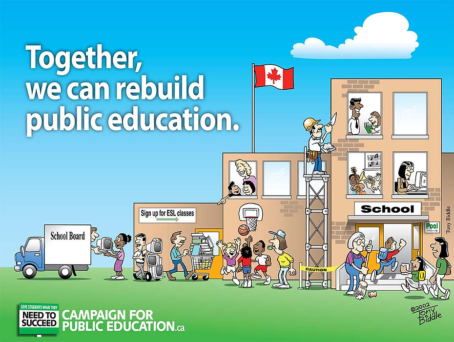 Together We Can Rebuild Public Education - Cartoon by Tony Biddle - Copyright