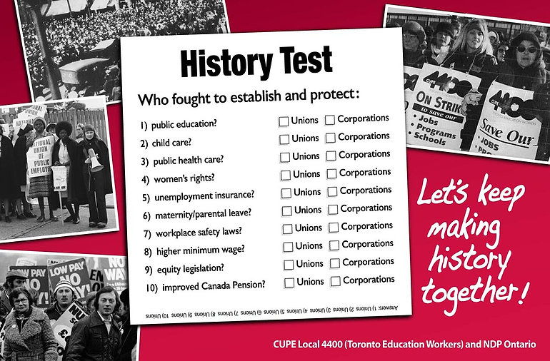 Ad - History Test (What unions have fought for) - CUPE 4400