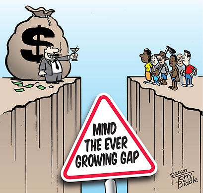 The Growing Wealth and Income Gap - Cartoon by Tony Biddle - Copyright