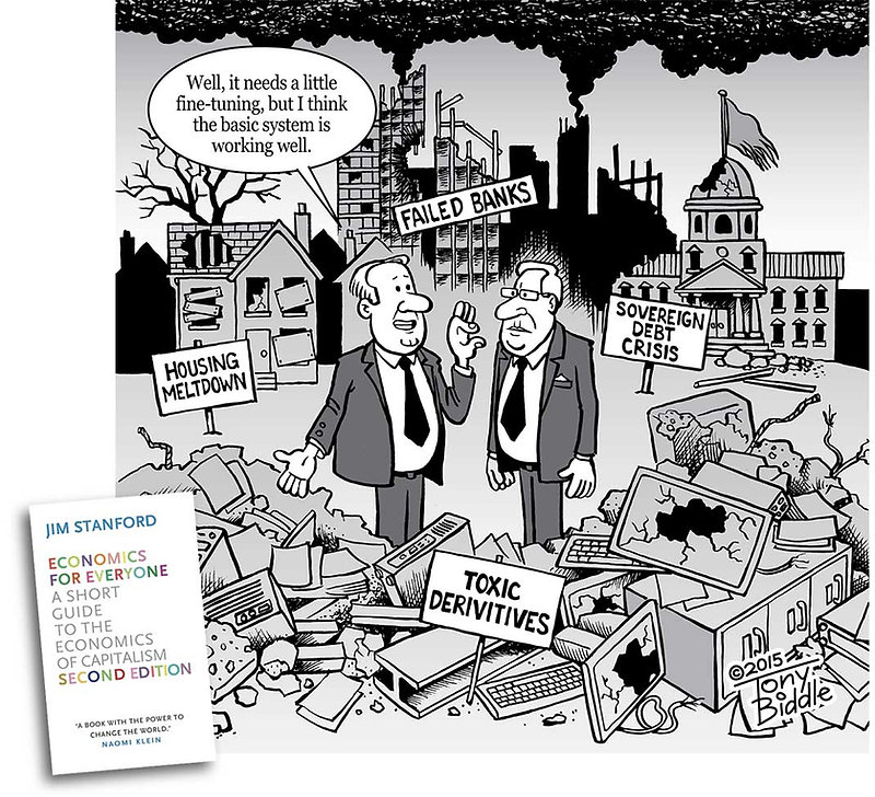 Global Financial Crisis - Illustration by Tony Biddle in Economics for Everyone (book) by Jim Stanford - Copyright