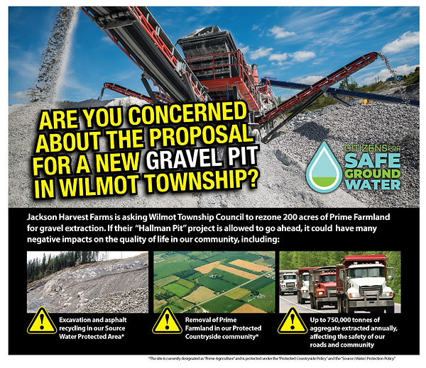 Event Poster on Gravel Pit Proposal - Citizens for Safe Groundwater