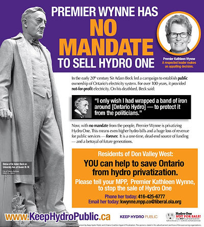 Ad Campaign - No Mandate To Sell Hydro One - 2016 - Keep Hydro Public