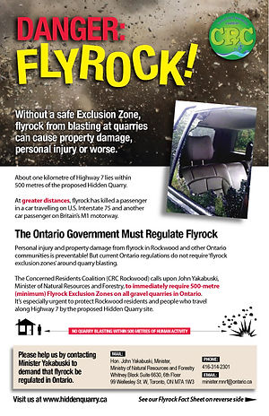 Fact Sheet on Dangers of Flyrock from Quarry Blasting - Concerned Residents Coalition - Rockwood