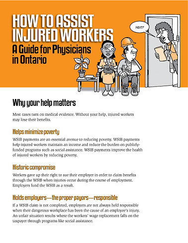 How to Assist Injured Workers — A Guide for Physicians in Ontario  - Design and Illustrations by Tony Biddle - Copyright