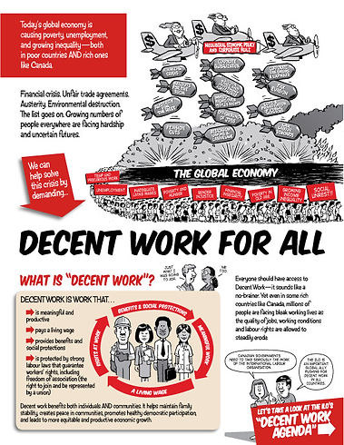 Decent Work For All -  - Design and Illustration by Tony Biddle - Copyright