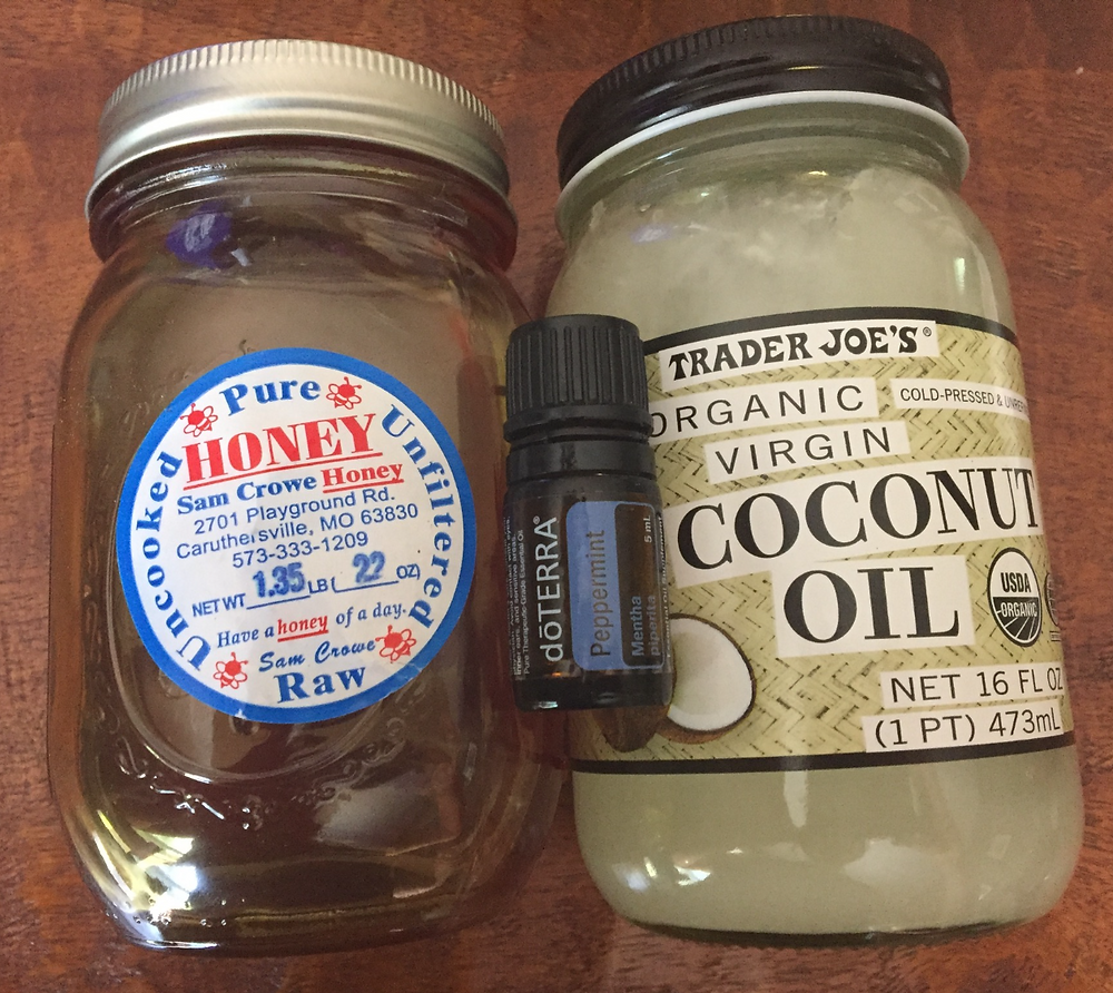 Local raw honey, coconut oil and peppermint oil ingredients for the middle layer