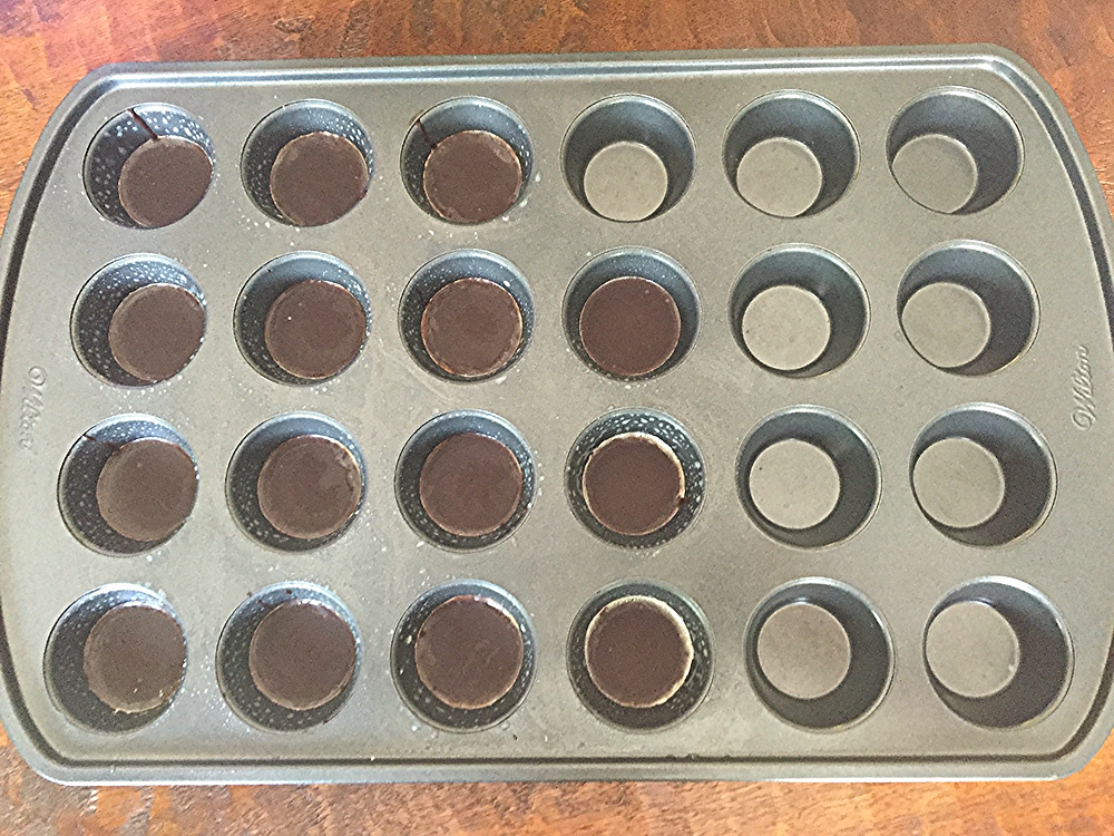 First layer - melted dark chocolate in mini muffin tin