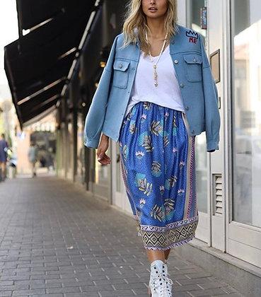 Jupe longue avec poches bleue