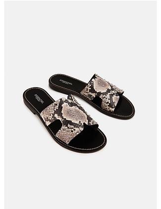 Sandales , effet python , tout cuir