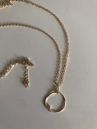 Collier plaqué or , pendentif petit brillant