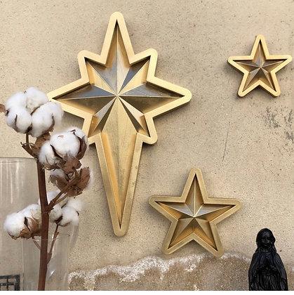 Ensemble 3 étoiles dorées
