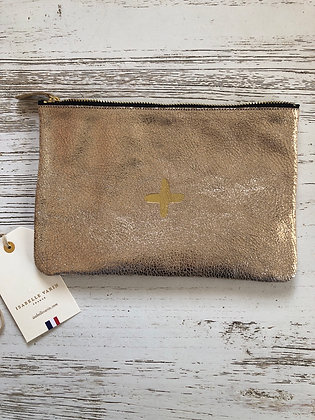 Pochette cuir or Isabelle Varin 23x15 made in France