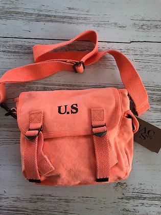 Sac US toile orange fluo 25x21 cm avec anse