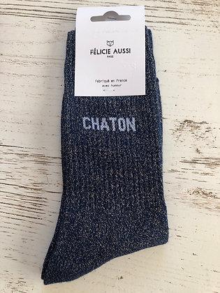 Chaussettes bleu nuit paillettes «chaton»36/40