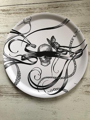 Plateau tête de mort papillon , grand modèle , artiste anglais