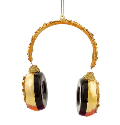 Décoration noël casque audio doré GM