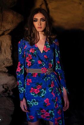 Robe bleue électrique fleurie en soie