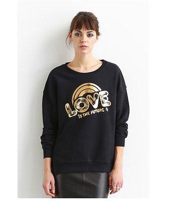 Sweat-shirt noir Love doré