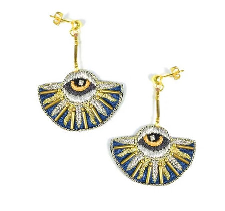 Boucles d'oreilles Horus bleu canard