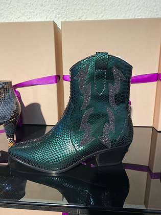Boots Nancy python vert métallisé