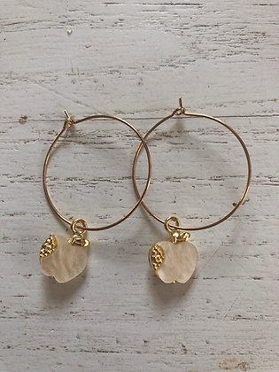 Boucles d'oreilles créoles , pendentifs pommes nacres