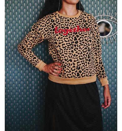 Sweat léopard imprimé together paillettes rouges