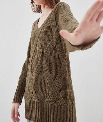 Pull large tricoté kaki