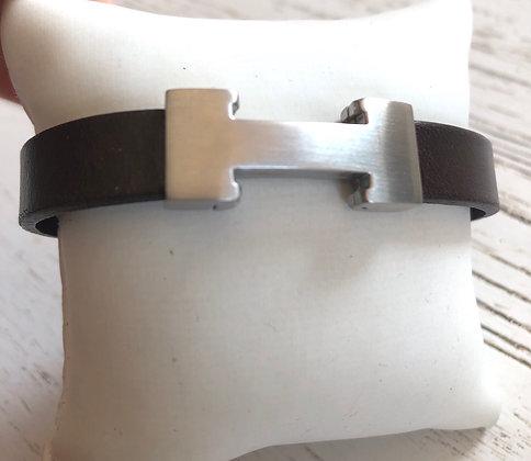 Bracelet cuir marron chocolat et motif acier