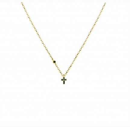 Collier or 9 carat avec mini croix saphir Feidt