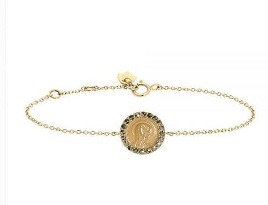 Bracelet madone or 9 carats et saphirs