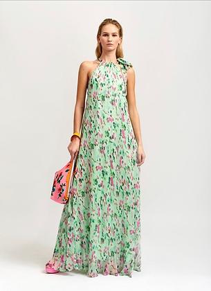 Robe longue fluide vert d'eau , imprimé fleurs