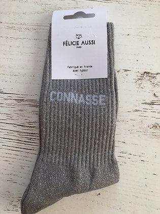 Chaussettes grises paillettes «connasse »36/40