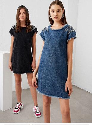 Robe jean cloutée noire ou bleue