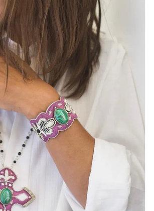 Bracelet brodé main purple pierre malachite