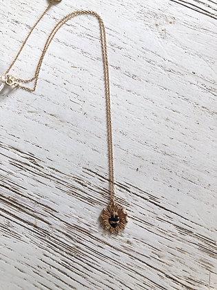 Collier chaîne réglable avec pendentif cœur sacré noir