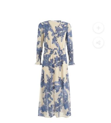 Robe longue fluide bleu et beige