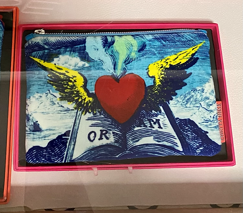 Pochette velours cœur et livre