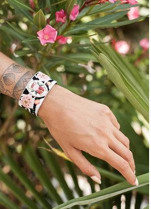 Bracelet coccinelle brodé main