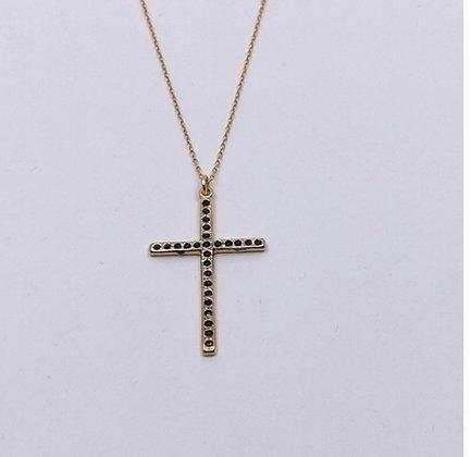 Collier big croix noir