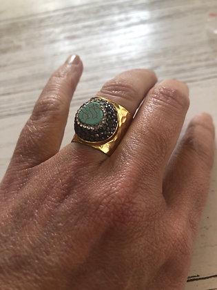 Bague réglable plaqué or , pierre turquoise , cristaux