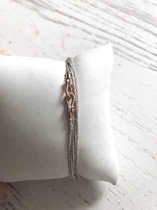 Bracelet cordon multi rangs en lurex paillettes