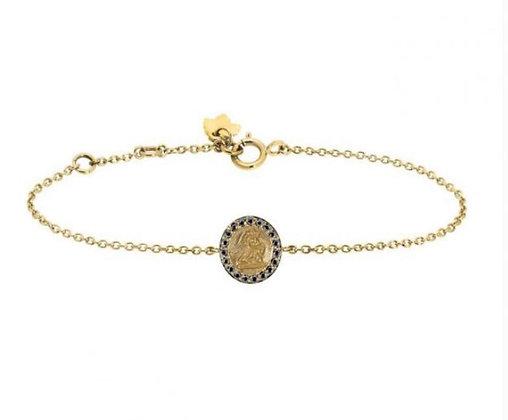 Bracelet Ange Raphael or 9 carats et saphir