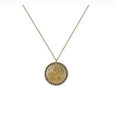 Collier grande médaille Angel Raphael or 9 carats et saphirs