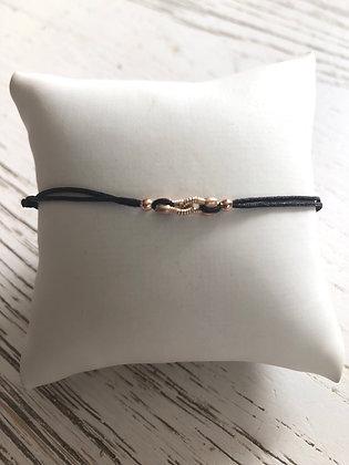 Bracelet cordon noir , lien corde de guitare