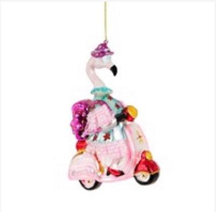 Décoration Flamingo rose scooter