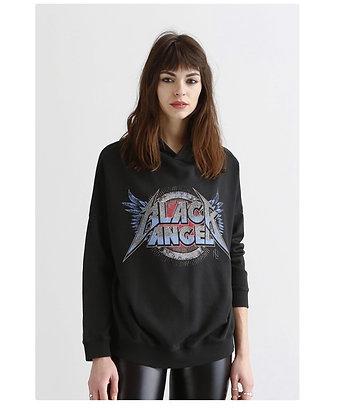 Sweat shirt noir à capuche