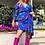 Thumbnail: Robe bleue électrique fleurie en soie